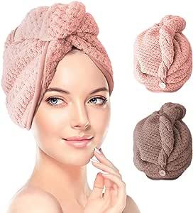Hair Turban Towel Wraps 2 Pack, TERSELY Dry Hair Cap Quick Drying Lady Towel Superfine Fiber Bath Head Wrap