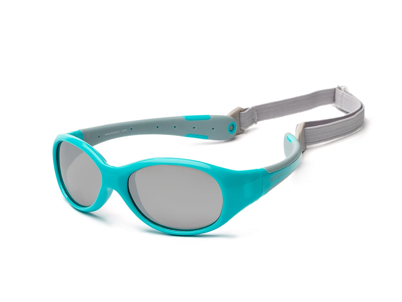 Baby Sonnenbrille 0-3 Jahre   Verspiegelt   Koolsun Flex Aqua Grey   100% UV Schutz   Mit abnehmbarem Kopfband   Optical Clas 1, Cat. 3   flexibel & unkaputtbar FLAG000