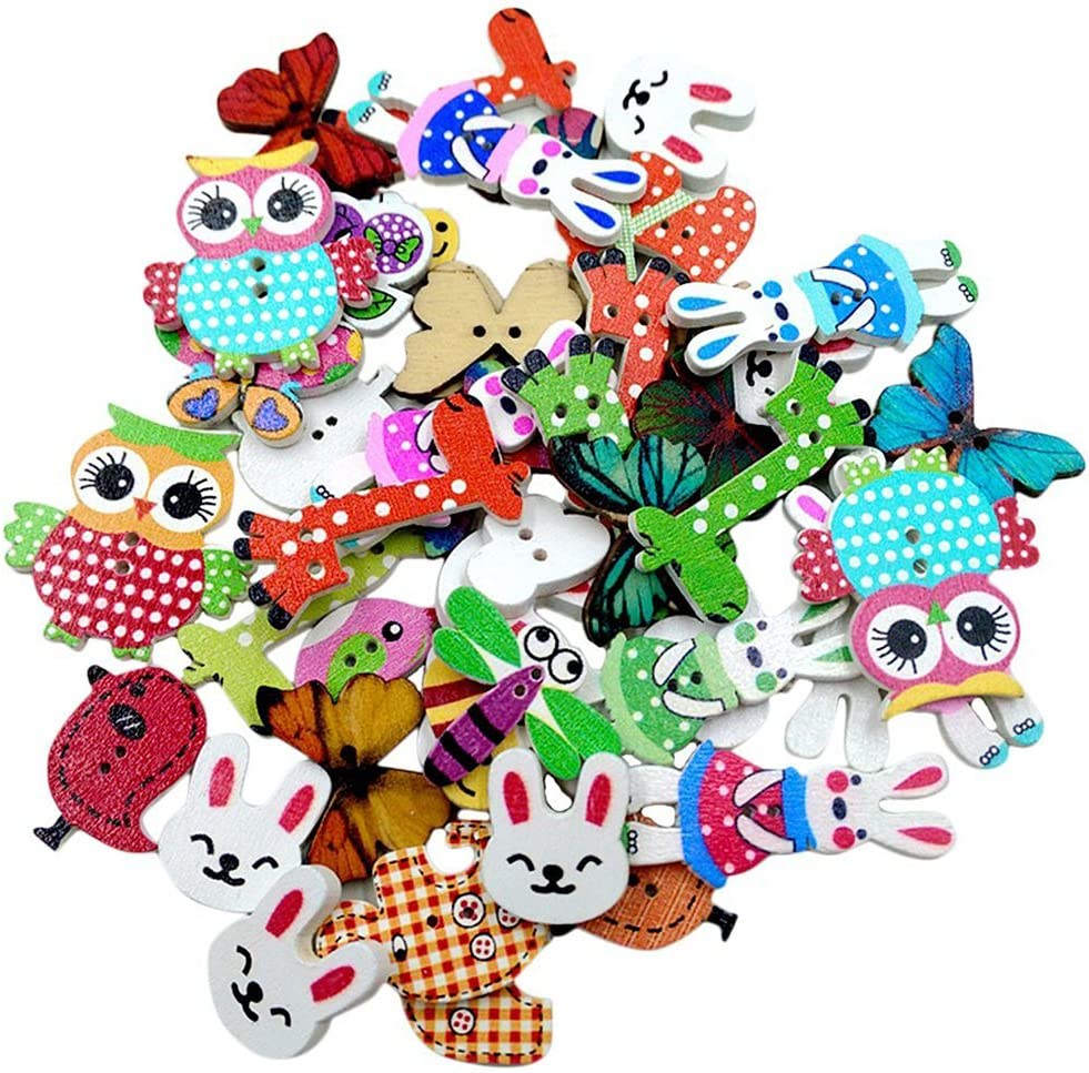 NaiCasy 50 botones de madera con diseño de animales para costura, manualidades, decoración, accesorios de ropa.