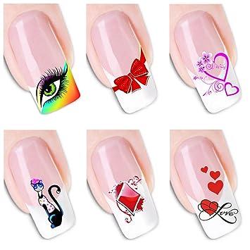 Amazon 6pcs Different Designs Nail Art Decoration Sticker Color
