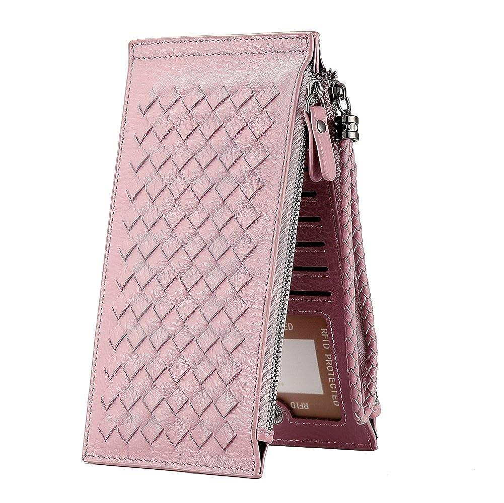 8593272a8 Clearance Womens Wallet, WELAVILA RFID Blocking Credit Card Holder Wallets  for Women Slim Bi-fold Zipper Purse (wrist pink) at Amazon Women's Clothing  store ...