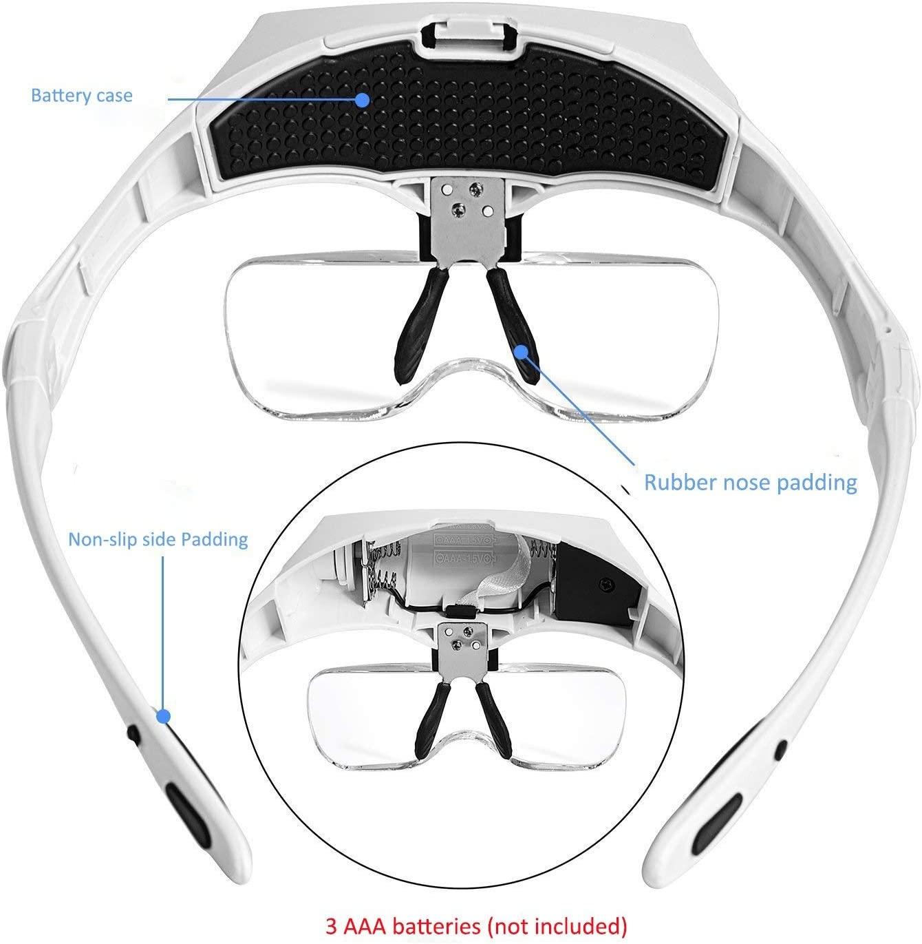 Light Weight Cefrank Handsfree Magnifier Head Lamp Illuminated LED Head Magnifying Glass Loupe 1.0X, 1.5X, 2.0X, 2.5X, 3.5X