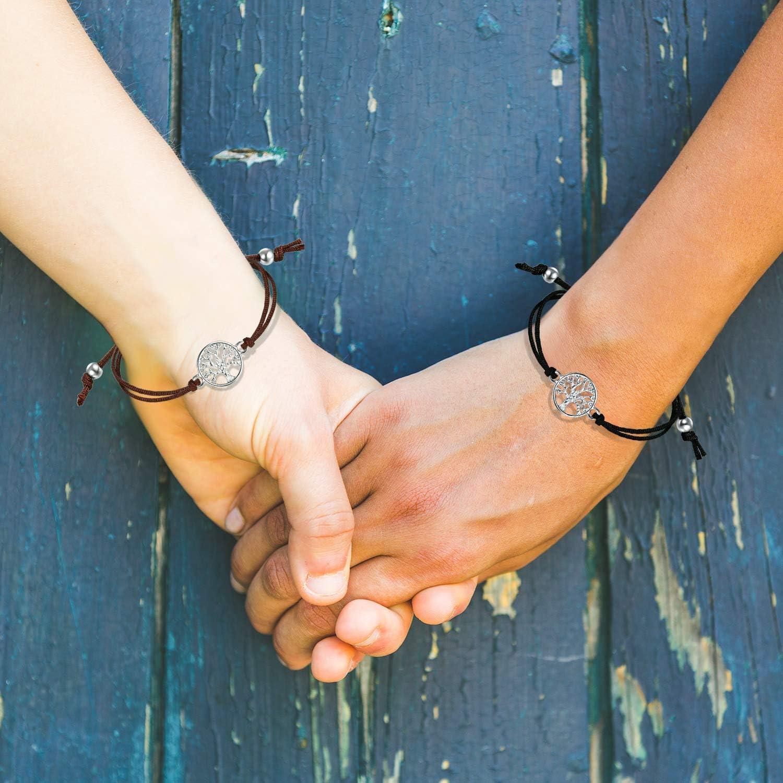 Remerciement 3 Pi/èces Bracelet d/'Arbre Ajustable Bracelet avec Bande Textile Noir Cadeau pour Amiti/é Souhait