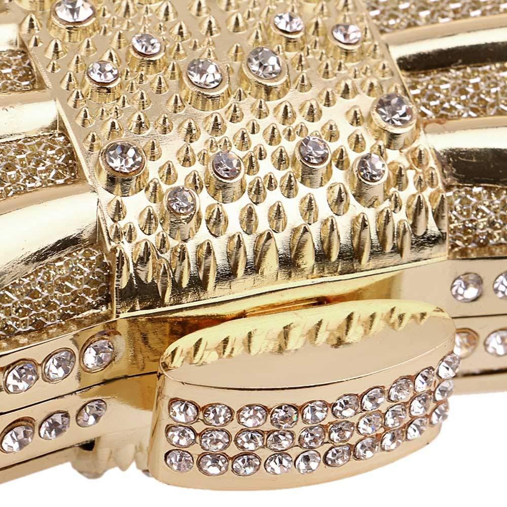 Oipoodde Damen-Clutch Frauen Temperament Metall Bogen Abendessen Kupplung Hochzeitsfest Hochzeitsfest Hochzeitsfest Tote Damen-Kettentasche (Farbe   Gold) B07Q3PQHZG Clutches Hervorragender Stil 6931bd
