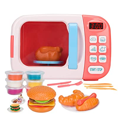 Vazussk Electronic Kitchen Toys Pretend Microwave Oven Play Set for Kids Toddlers Age 3 and up with 6Pcs Play Dough (Pink): Toys & Games