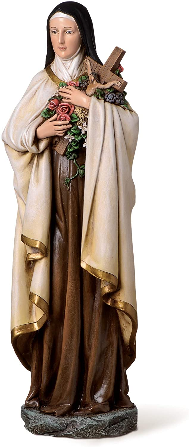 "Joseph's Studio by Roman - St. Therese Figure on Base, 14"" Scale Renaissance Collection, 13.75"" H, Resin and Stone, Religious Gift, Decoration"
