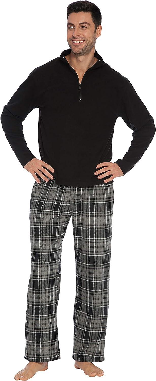 INTIMO Men's Black Zipper Top Pajama Set