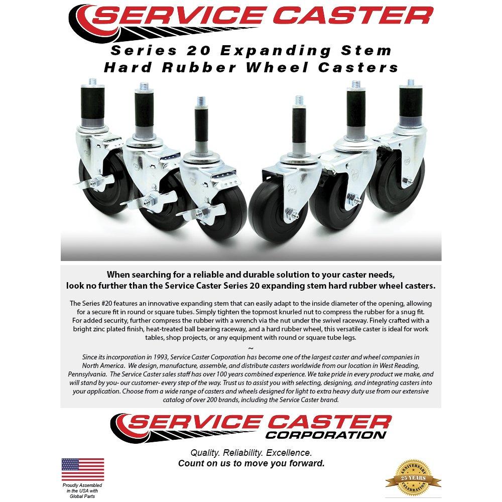Service Caster - 5'' x 1.25'' Hard Rubber Wheel Swivel Casters w/1'' Expanding Stem w/Brake - Set of 4 by Service Caster (Image #2)