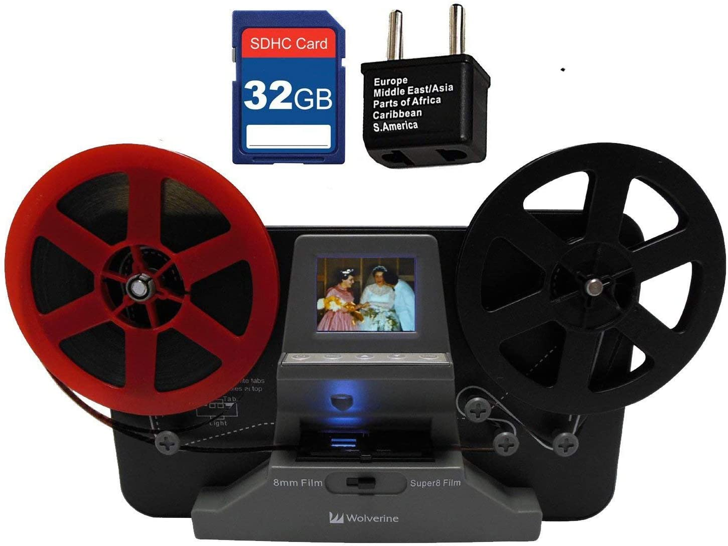 """Wolverine 8 mm & Super 8 Reels Movie Digitizer w/ 2.4"""" LCD (Film2Digital MovieMaker) Includes 32GB SD Memory Card & Worldwide 100-240V AC Adapter & International Two-Prong Round Pin Plug Adapter"""