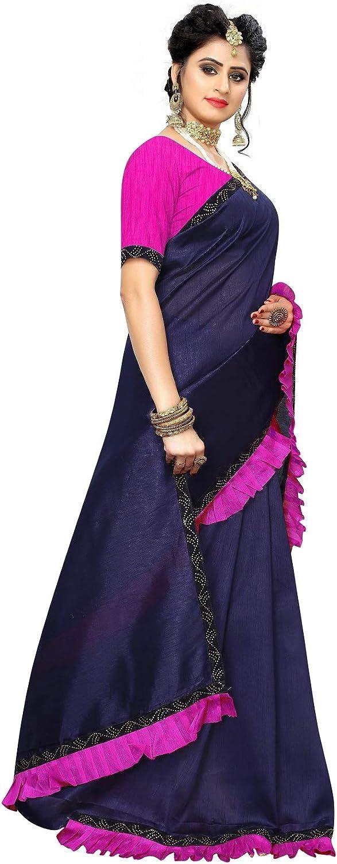 Peegli Saree Women's Indian Blue Solid Wedding Wear Zoya Silk Traditional Sari with Blouse Navy Blue and Dark Pink