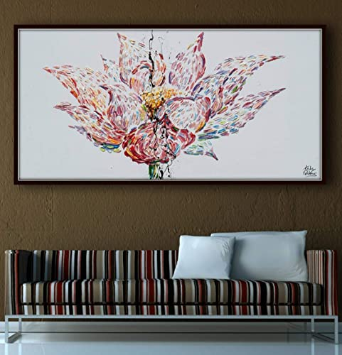 Amazoncom Lotus Flower Painting 55 Original Oil Painting On