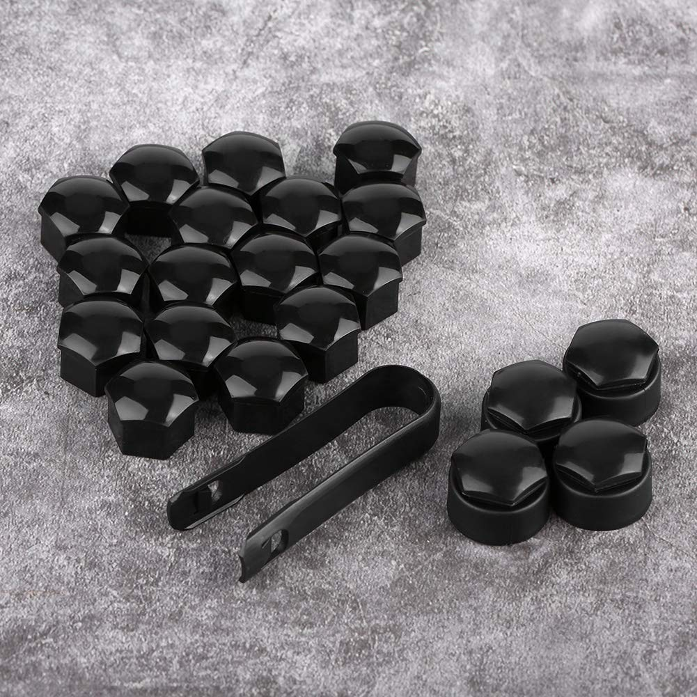 20pcs 17mm Nut Car Wheel Auto Hub Screw Protection Anti-theft Cover Cap for Audi Black Black