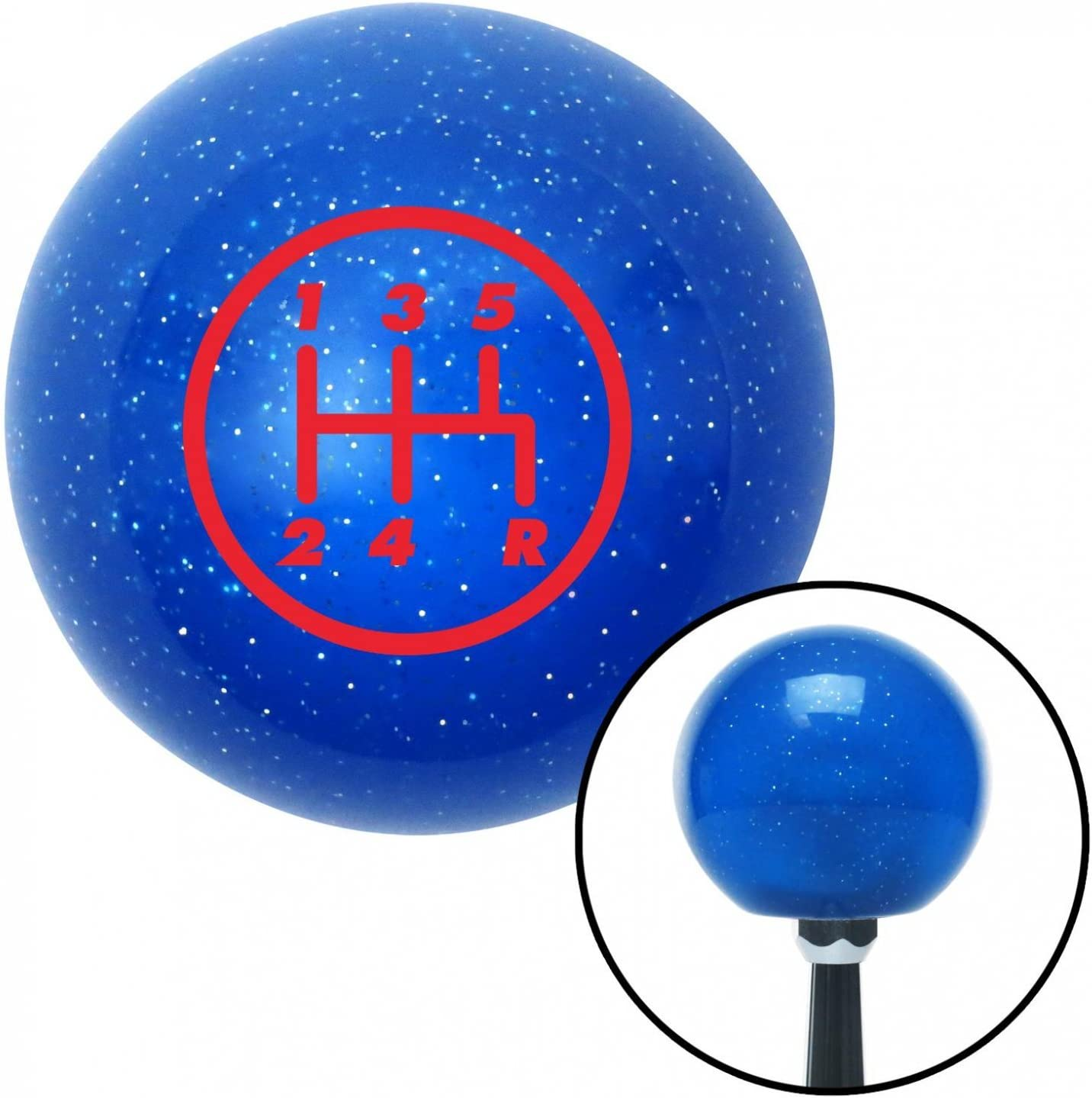 Red 5 Speed Shift Pattern - 5RDR American Shifter 19661 Blue Metal Flake Shift Knob with 16mm x 1.5 Insert