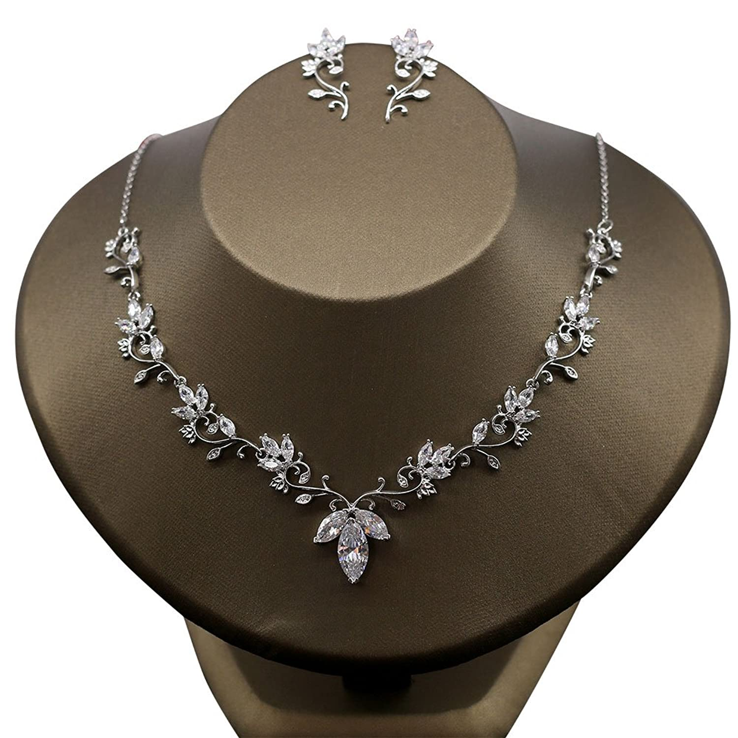 Kanrome Marquise-Cut Zircon Necklace Earrings Jewelry Sets Bridal Wedding Choker Gift