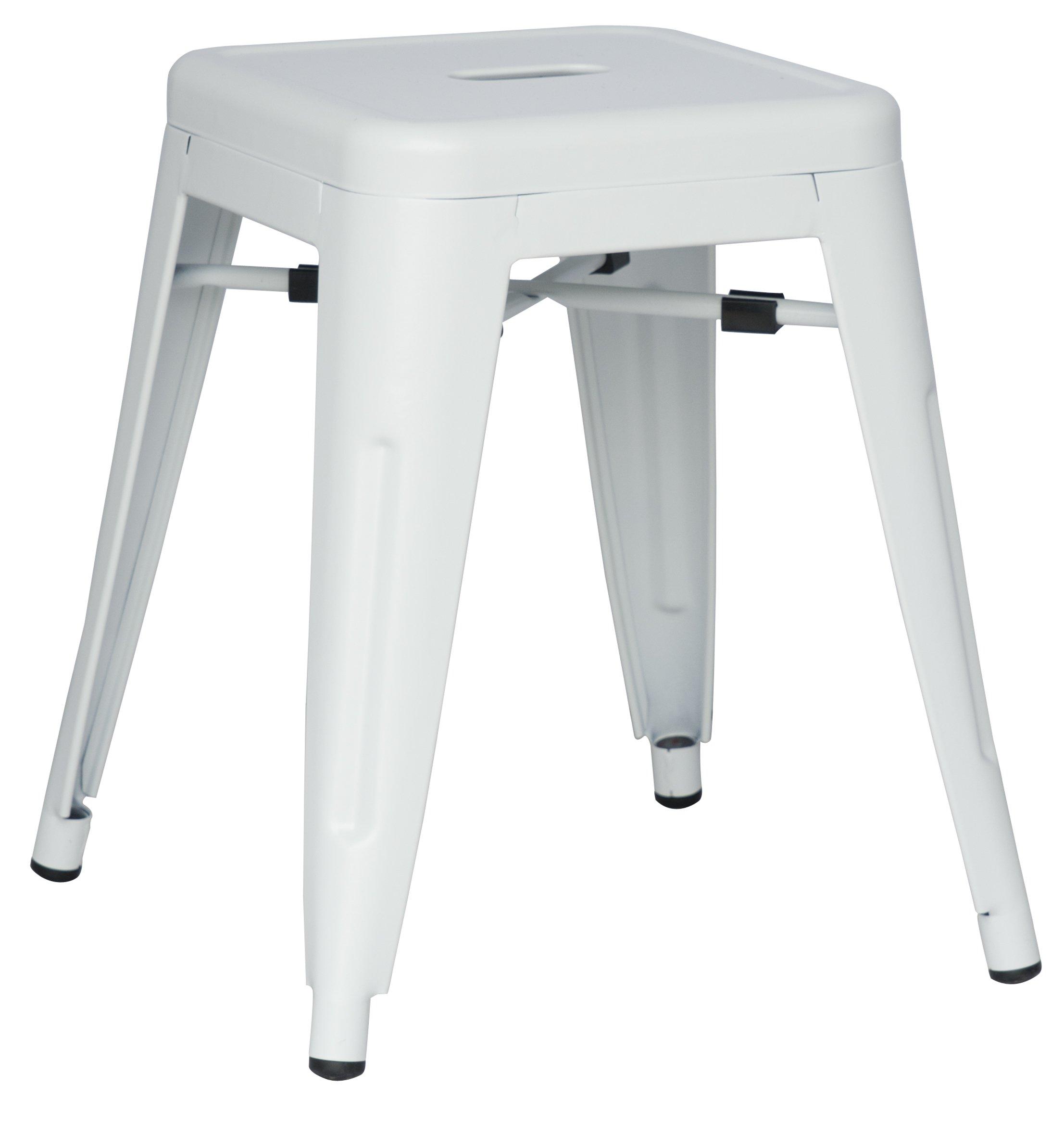 Milan India Galvanized Steel Side Chair, Set of 4, White