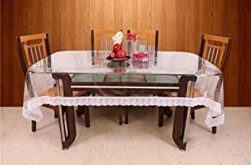 Rajri Decor Transparent 6 Seater Dining Table Cover 60 X 90 White Lace