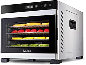 Ivation 6 Tray Commercial Food Dehydrator Machine | 600w, Easy Setup, Digital Adjustable Timer and Temperature Control | Dryer for Jerky, Herb, Meat, Beef, Fruit and To Dry Vegetables | Stainless Steel