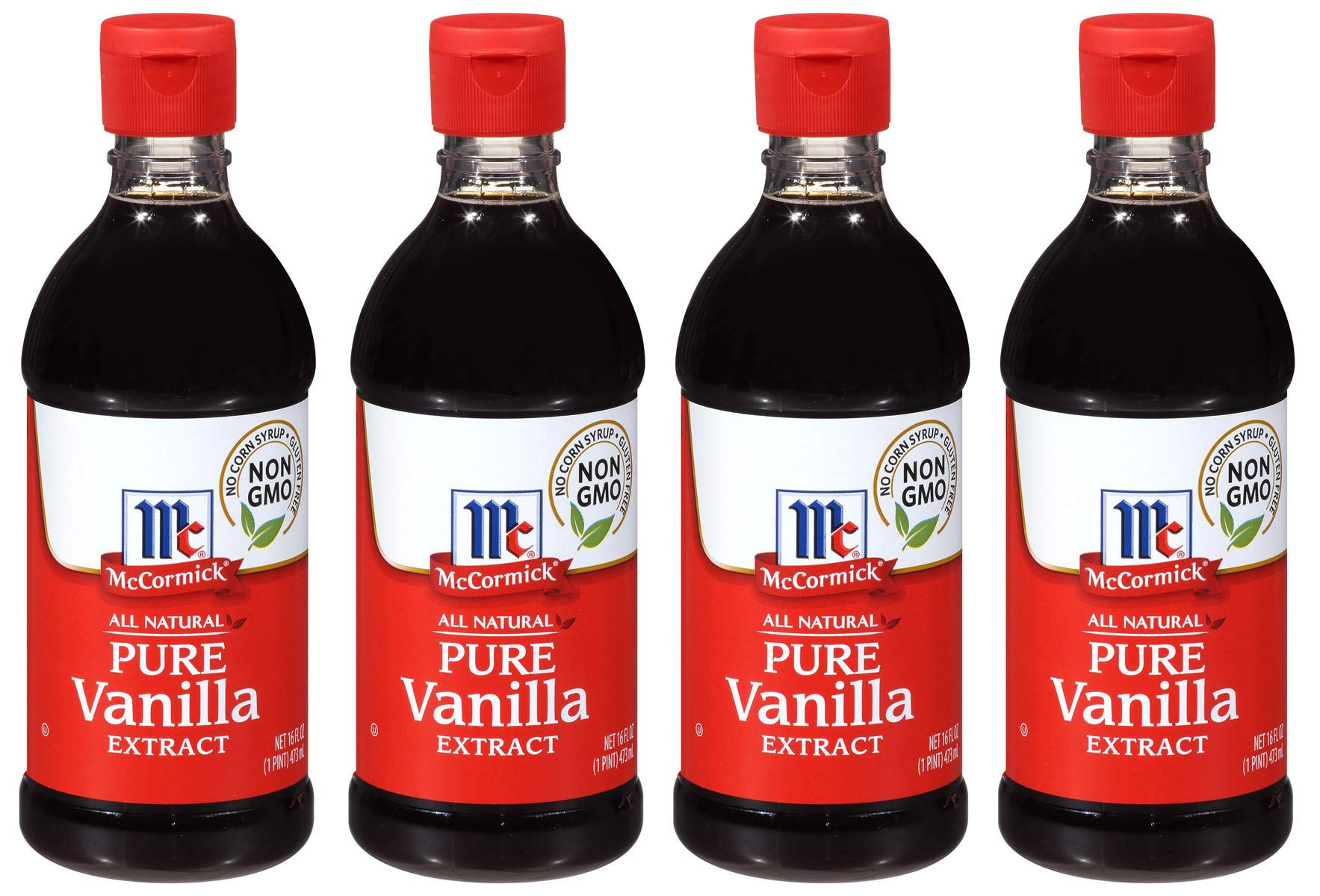 McCormick MJC All Natural Pure Vanilla Extract, Gluten-Free Vanilla, 4 Pack of 16 Oz