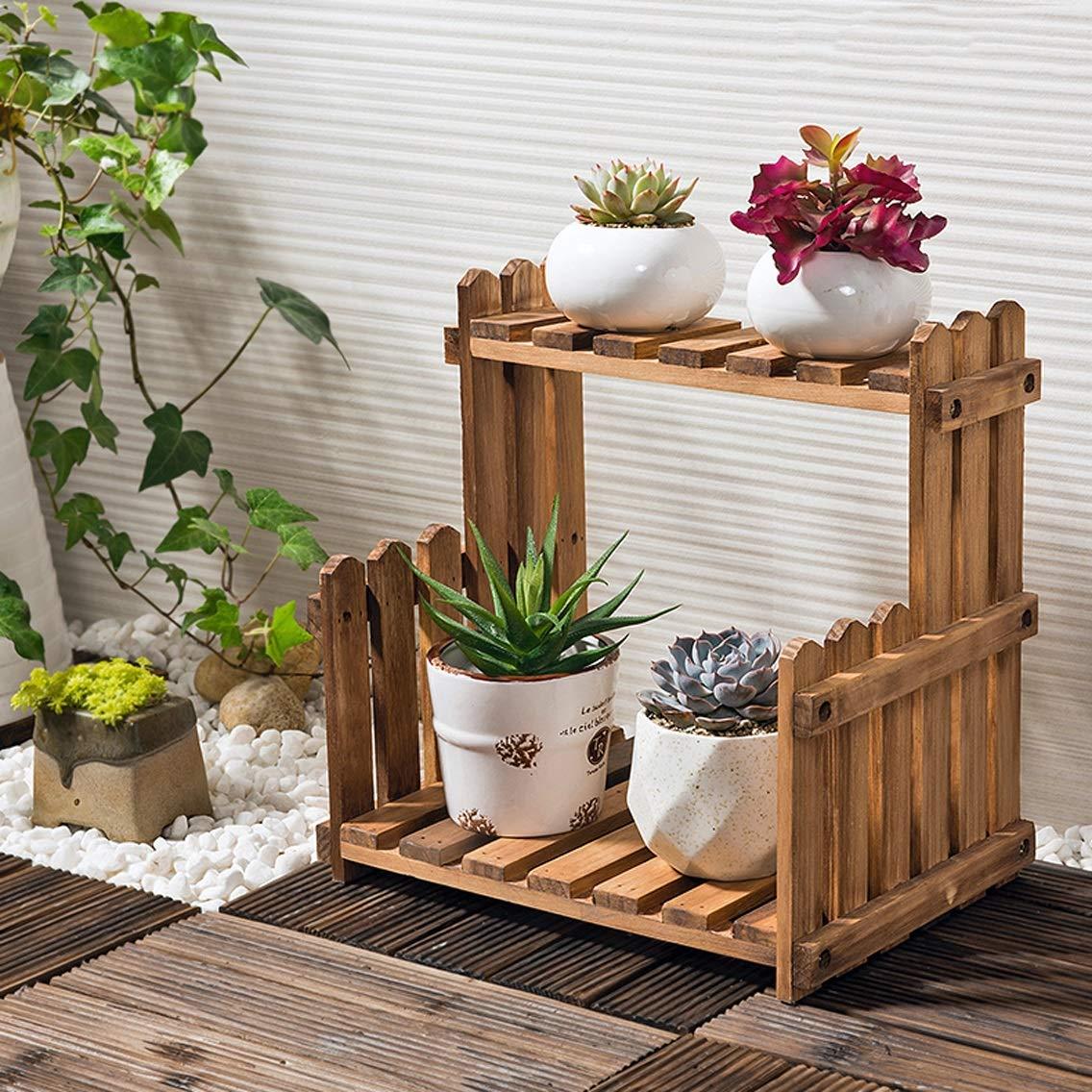 HZB Wooden Flower Rack, Living Room, Balcony, Indoor and Outdoor Multi-Storey Flowerpot Rack.