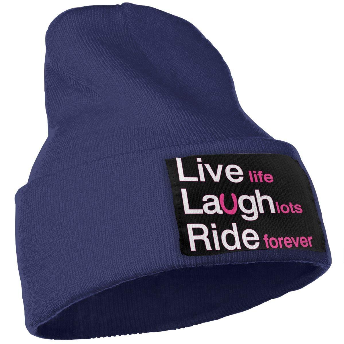 Unisex 100/% Acrylic Knit Hat Cap Live Laugh Ride Cute Beanie Hat