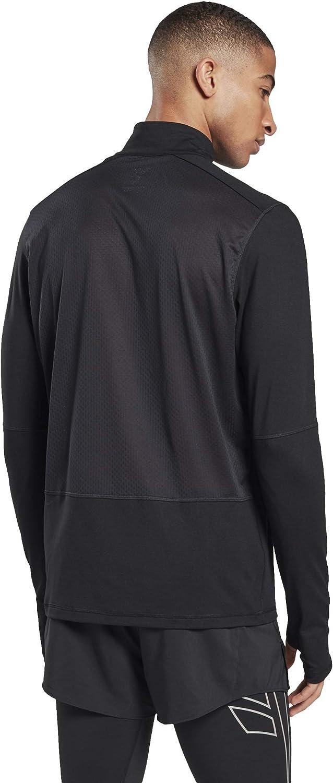 Schwarz M Reebok Herren Re Quarter Zip Sweatshirt