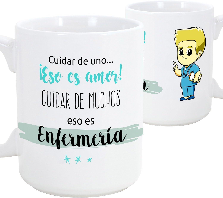 MUGFFINS Tazas de Desayuno Original para Regalar a Trabajadores Profesionales - Regalo para Enfermeros - Cuidar de uno eso es Amor, cuidar de Muchos eso es enfermería- Cerámica 350 ml (Hombre)