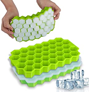 JSM, Ice Cube Trays with lids, 2 Pack Silicone Ice Cube Molds Flexible 74-Ice Trays, BPA Free, for Whiskey Storage,Cocktail,Beverages, Flexible Safe Molds;Available in green2pcs or white2pcs