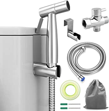Advcer Bidet Sprayer Attachment Kit Pressure Adjustable T Valve Brushed Stainless Steel Hand Held Bidets Shattaf 46 2 Metal Hose Side Hook Holder For Bathroom Toilet Water Sink Or Cloth Diaper