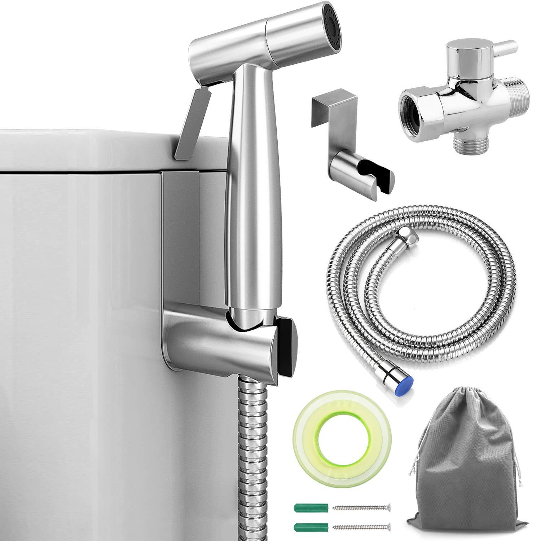 ADVcer Bidet Sprayer Attachment Kit - Pressure Adjustable T-valve, Brushed Stainless Steel Hand Held Bidets Shattaf, 46.2'' Metal Hose, Side Hook Holder for Bathroom, Toilet, Water Sink or Cloth Diaper
