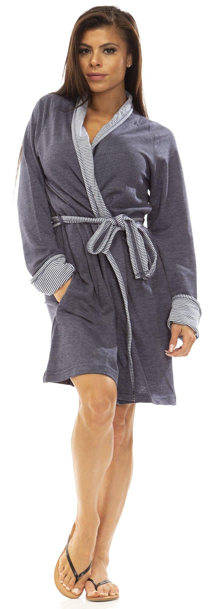 IZOD (5888AZ) Womens Lightweight 100% Cotton French Terry Robe Size: Small in Denim (422)