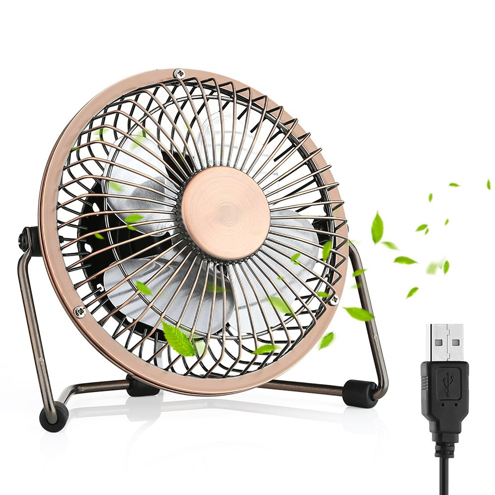 USB Fan, Desktop Fan Mini USB Fan Table Desk Personal Fan, Mini Table Fan Quiet Operation Desk Fan Suitable for Home Office Travelling Household, 4 inch Bronze ArmaGedon