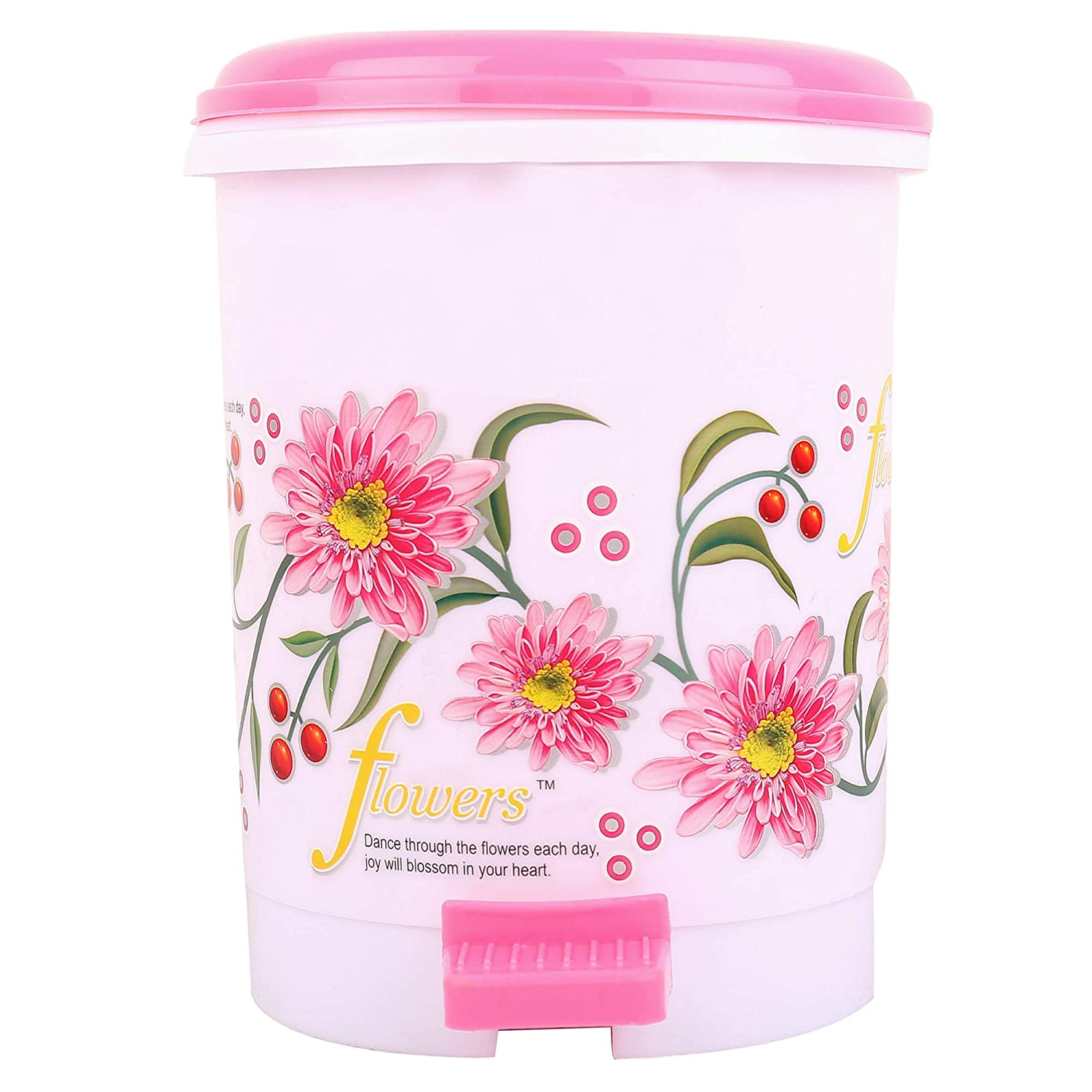 Kuber Industries Floral Design Plastic Dustbin, Small, Multi Color.