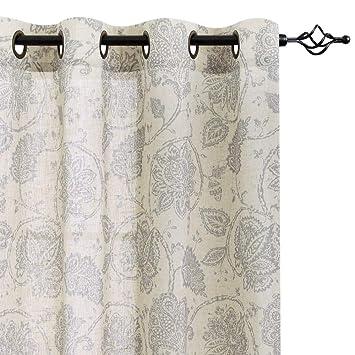 Paisley Scroll Printed Linen Curtains, Grommet Top - Medallion Design  Jacobean Floral Printed Curtains Burlap Vintage Living Room Curtain Panels  ...