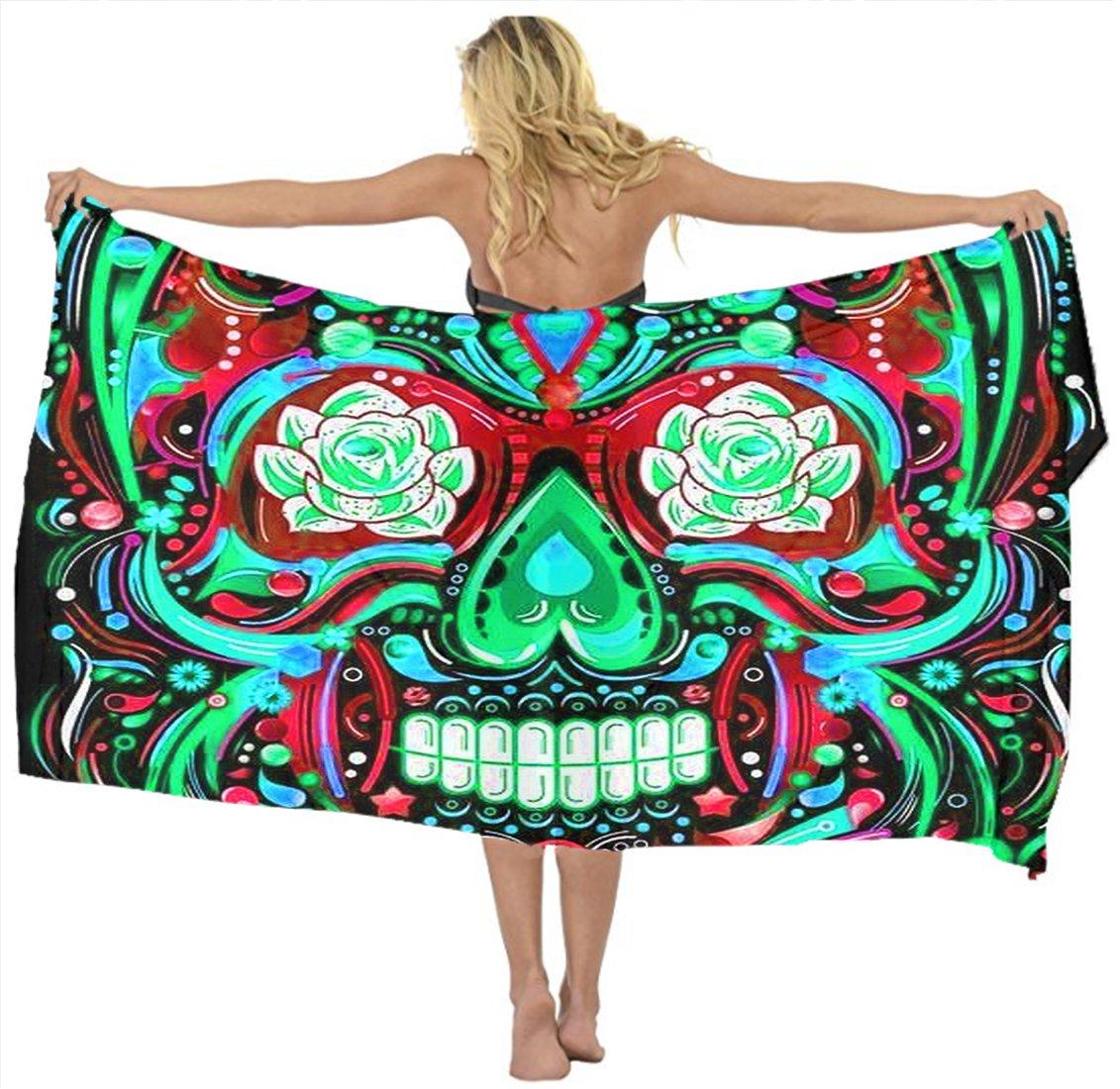 AMERICAN TANG Falda para Bufanda, Diseño de Calaveras de Azúcar ...