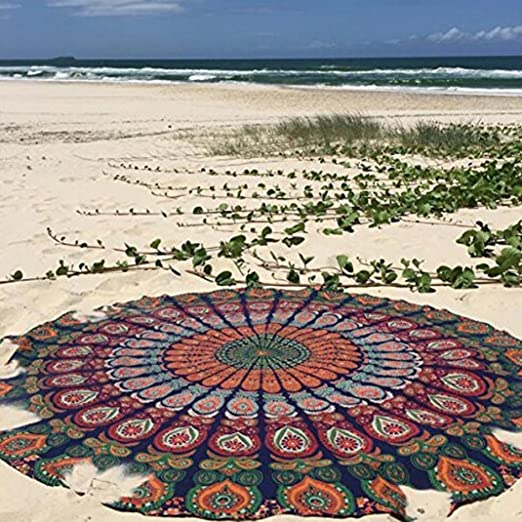 Amazon.com: yjydada redonda playa piscina, hogar – Toalla de ...
