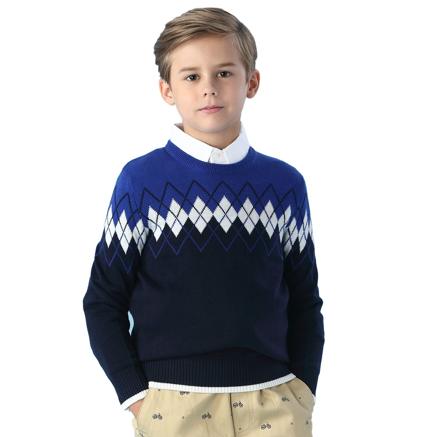 Leo&Lily Big Boys' Kids' Wool Blends Jacquard Casual Pullover Sweater LLB1252-8-Navy-$P