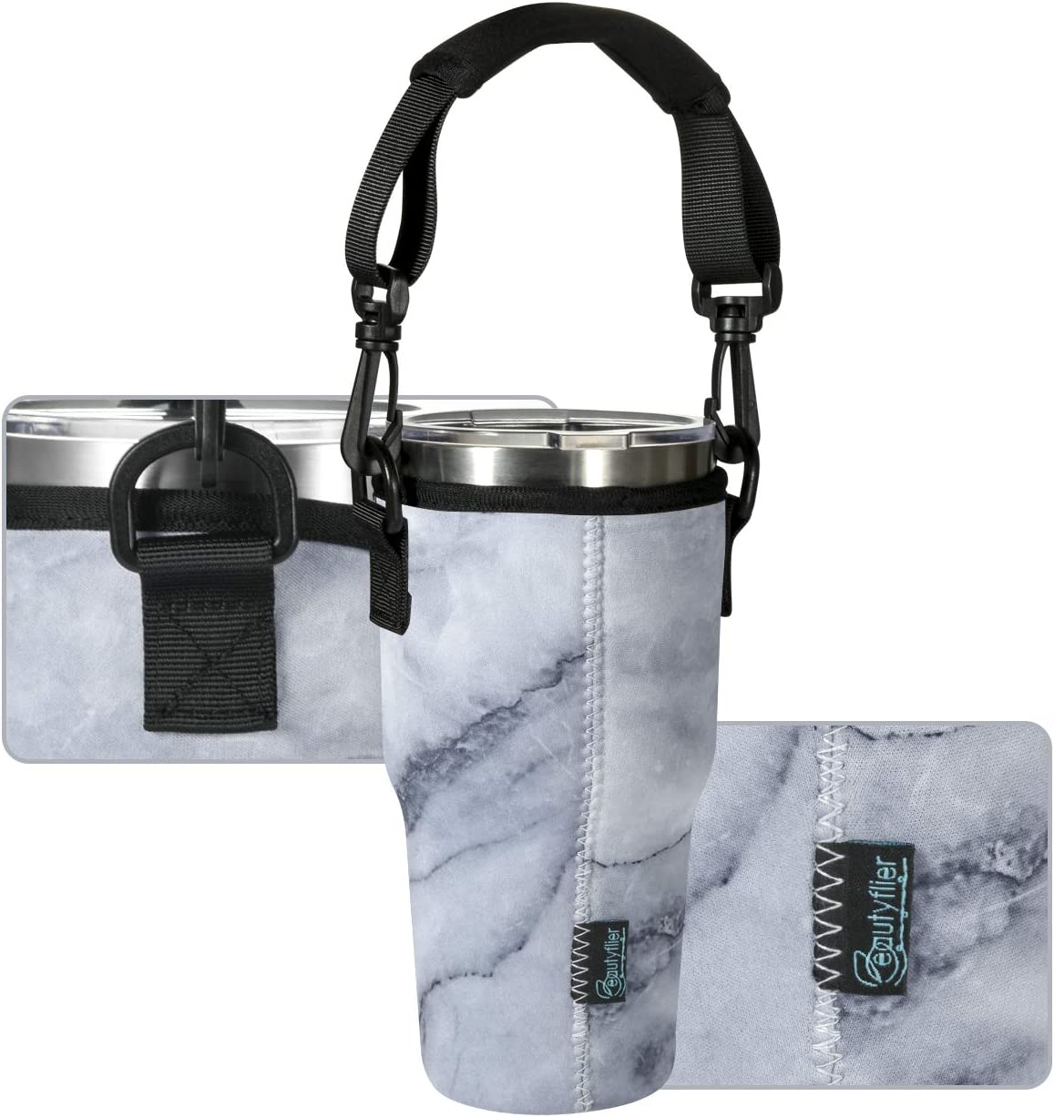 Beautyflier Neoprene Tumbler Carrier Holder Pouch for Stainless Steel Insulate Tumblers with Detachable Carrying Handle Light Blue, Fits for 30 OZ
