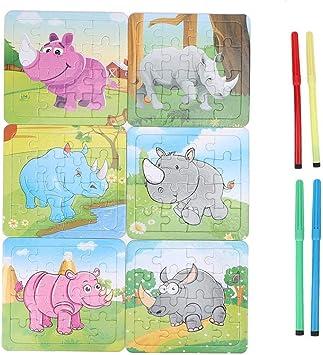 Juego de juguetes de rompecabezas de animales de papel, rompecabezas de pintura animal colorida española Rompecabezas de aprendizaje preescolar Juguetes educativos para niños pequeños(Rinoceronte): Amazon.es: Juguetes y juegos