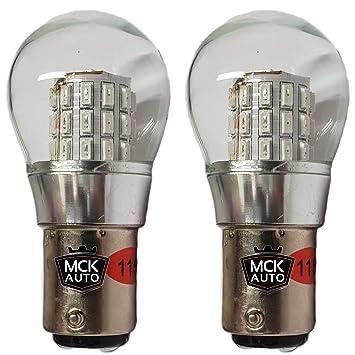 MCK Auto P21W Bombillas LED para coche, color rojo, filamento de doble función BAY15d 1157 trasero, transforma tu viaje: Amazon.es: Coche y moto