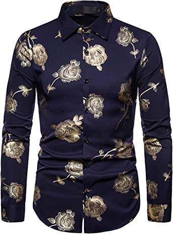 JOLIME Funky Camisa Hombre Manga Larga Slim Fit Casual Fiesta Clubwear Estampada Rosa Floral: Amazon.es: Ropa y accesorios