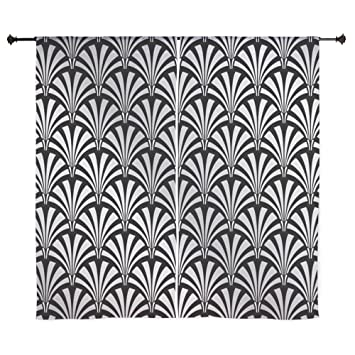 CafePress   Elegant Black And Silver Art Deco Curtains   60u0026quot;  Decorative Window Curtains,