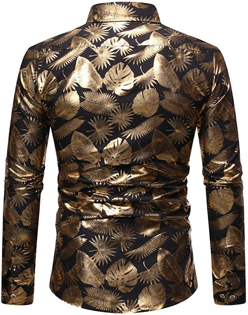 Tralounry Mens Gilded Floral Printing Casual Long-Sleeve Evening Club Western Shirt