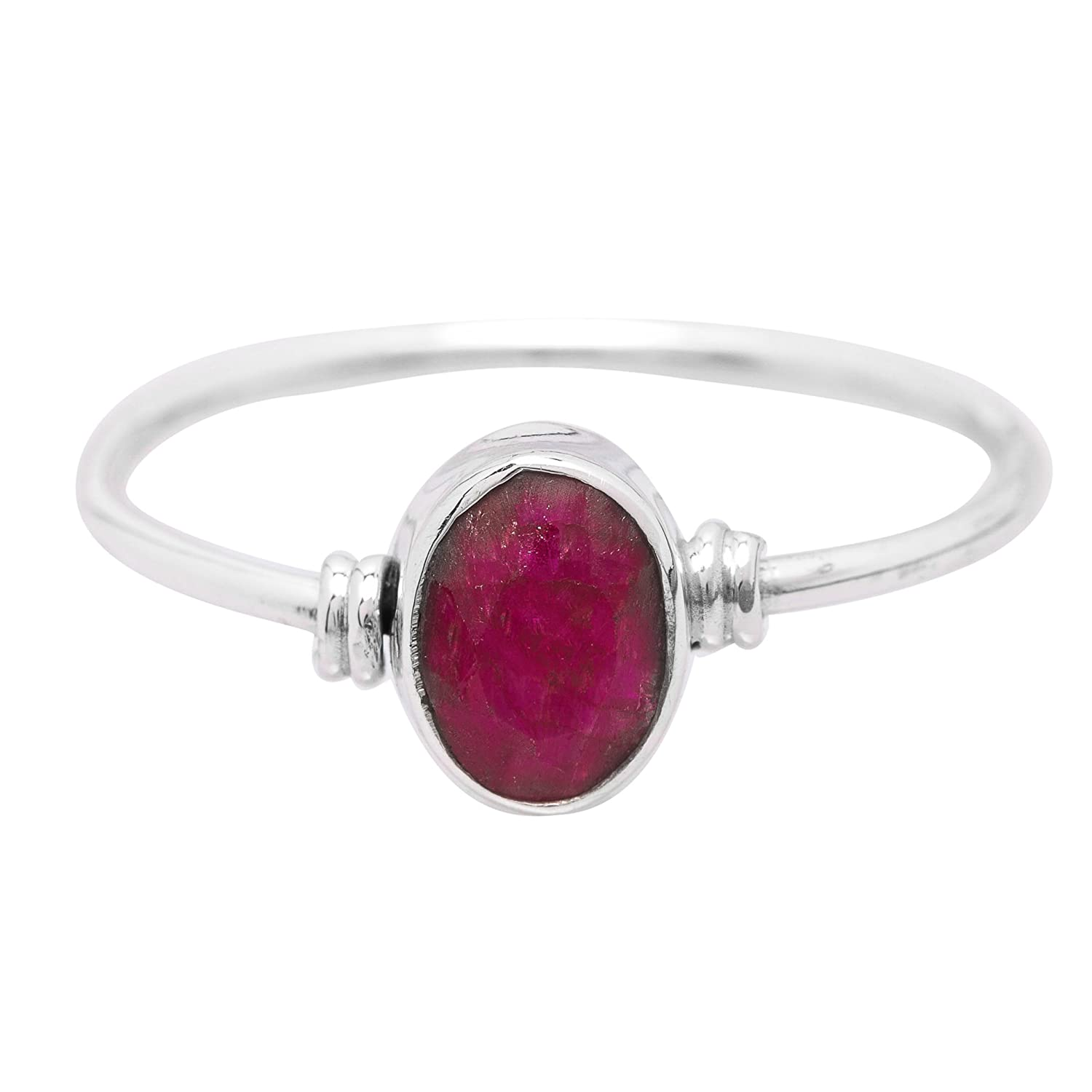 Koral Jewelry Created Ruby Oval Stone Delicate Ring 925 Sterling Silver Vintage Tribal Gipsy Boho Look