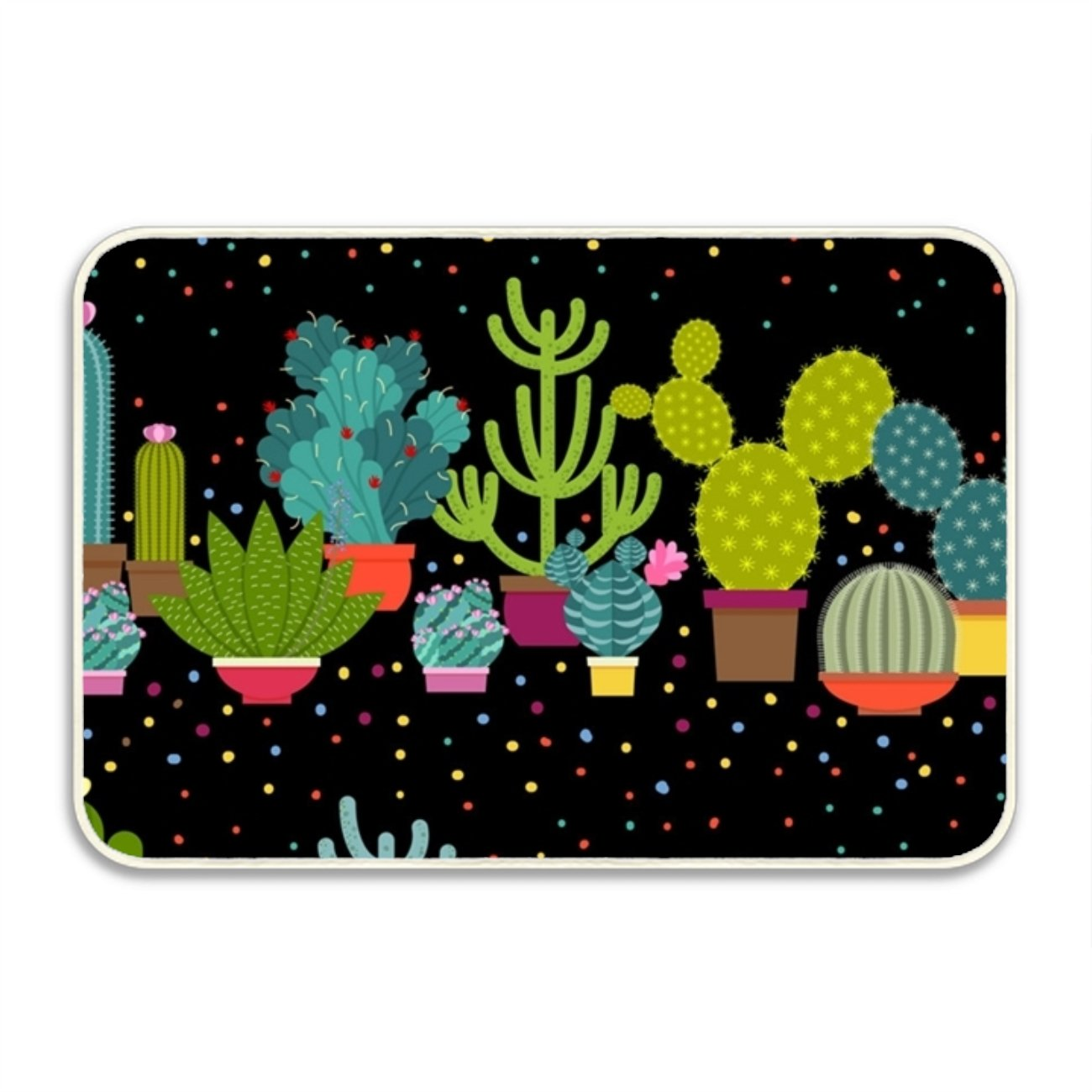 WYFG Household Welcome Mat Printed Horizontal Patterns Of Cactus For Indoor