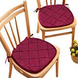 Quilted Memory Foam Cushioned Chair Pads with Ties - Set of 2, Burgundy