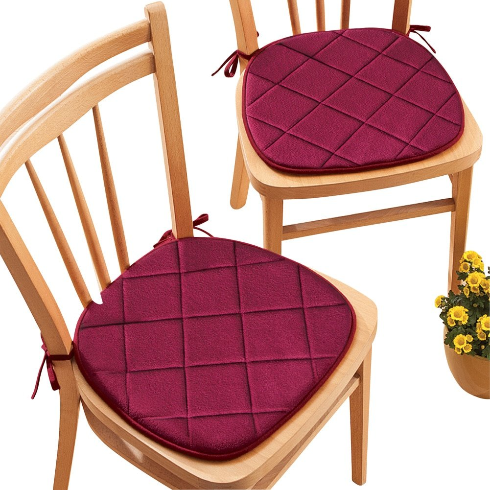 Collections Etc Quilted Memory Foam Cushioned Chair Pads with Ties - Set of 2, Burgundy by Collections Etc