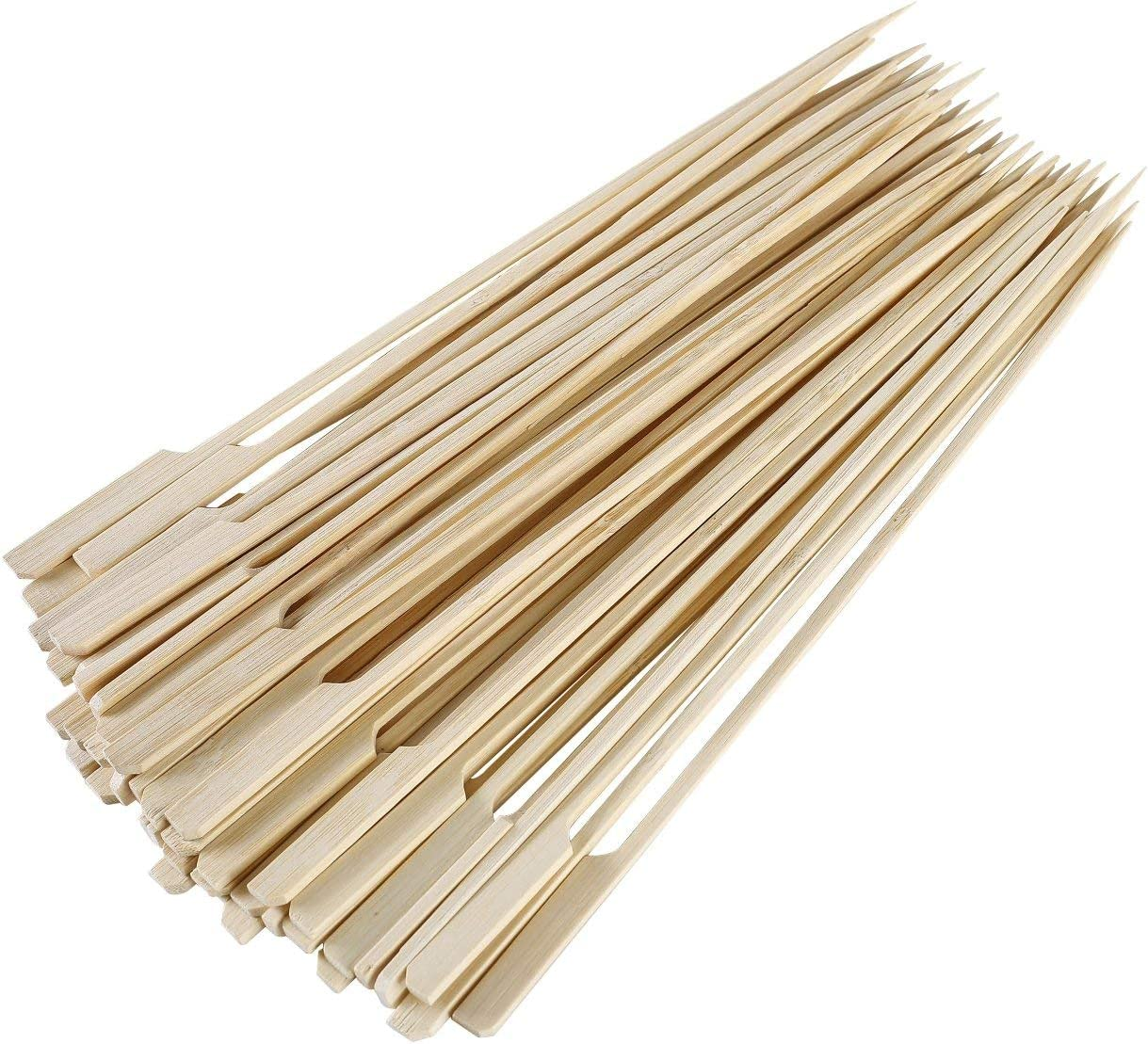 Cocktails and Indoor and Outdoor Barbecue Supplies Teblacker 300 Pieces Bamboo Skewers Party Supplies Natural Paddle Bamboo Sticks Used for BBQ Kebabs
