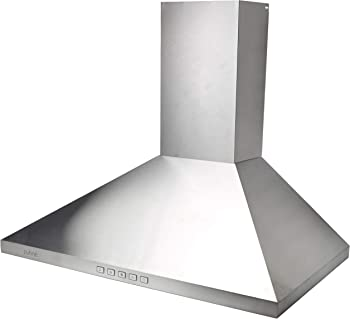 Agua Canada Range Hood Pyramid Stainless Steel Wall Mount, 30 Inches 500 CFM w LEDs lights Hamlet