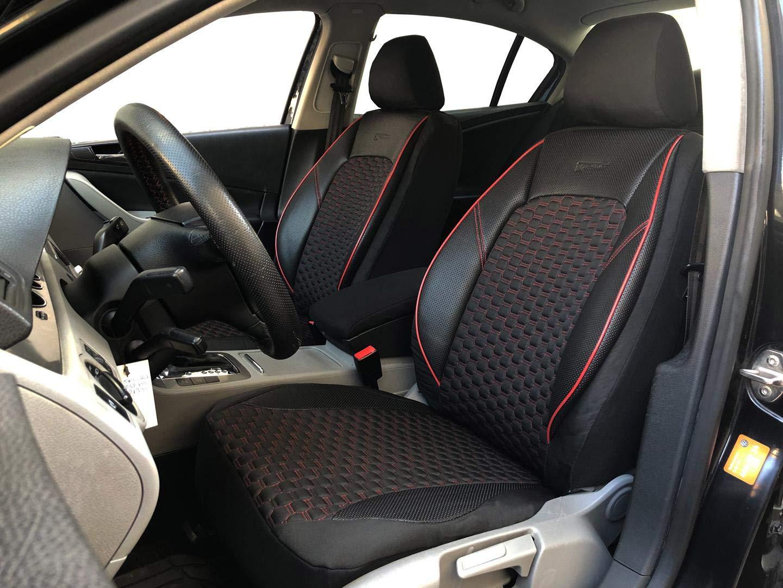 seatcovers by k-maniac Housses de Protection pour sièges d'auto V1607494 Noir-Rouge sièges Avant Applications en Similicuir Accessoires Automobiles