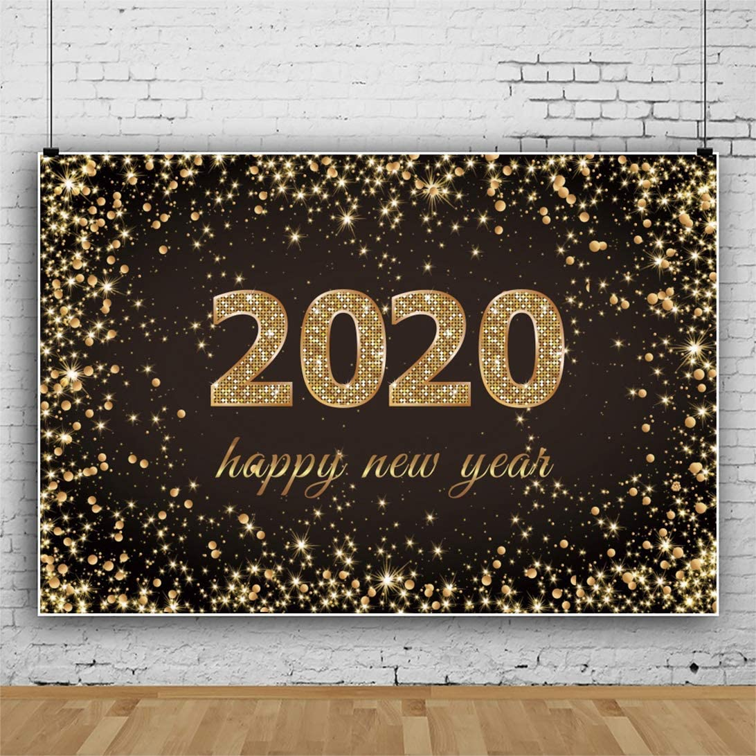 Happy New Year 2020 Polyester Photography Background 8x6ft Golden Bokeh Halos Backdrop Holiday Lights Carnival Party Celebrate Dancing Ball Holiday Xmas Family Baby Portrait Shoot Decor